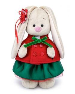 Плюшена играчка Budi Basa - Зайка Ми, със зелена поличка и червено палтенце, 32 cm