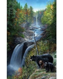 Пъзел SunsOut от 550 части - Мечки на водопада, Кевин Даниел