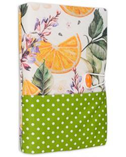 Текстилна подвързия за книга Портокал (зелен фон)