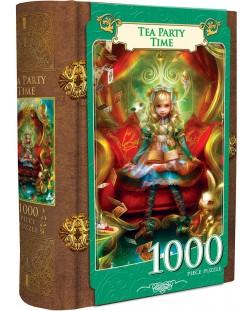 Пъзел в кутия-книга Master Pieces от 1000 части - Алиса в Страната на чудесата, чаено парти
