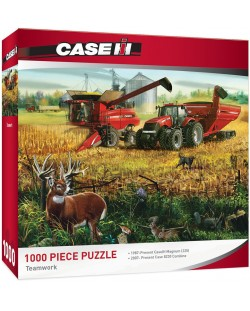 Пъзел Master Pieces от 1000 части - Отборна работа на машини Case IH, Чарлз Фрийтег