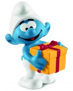 Фигурка Schleich The Smurfs - Смърф с подарък