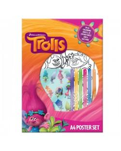 Комплект за оцветяване Trolls A4 Poster Set