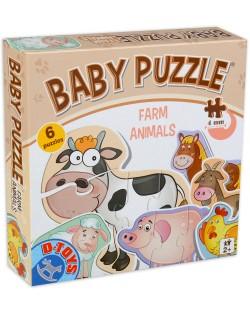 Бебешки пъзел D-Toys 6 в 1 - Животните от фермата