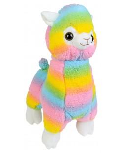 Плюшена играчка Morgenroth Plusch - Алпака в цветовете на дъгата, 35 cm