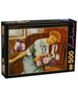 Пъзел D-Toys от 500 части - Лорика с хризантеми, Стефан Лукиан