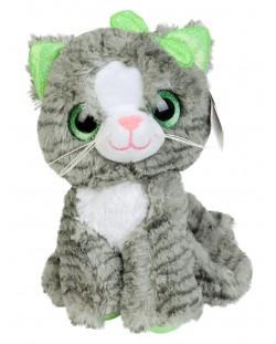 Плюшена играчка Morgenroth Plusch - Коте със зелена панделка, 26 cm