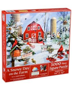 Пъзел SunsOut от 1000 части - Снежен ден във фермата, Лори Шори