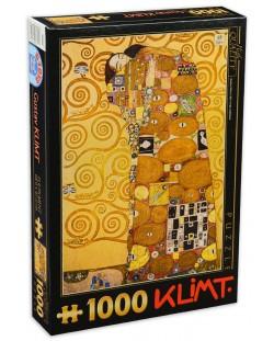 Пъзел D-Toys от 1000 части - Прегръдка, Густав Климт