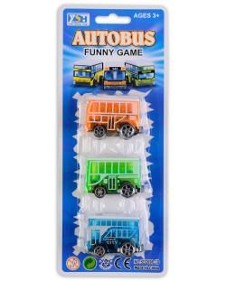 Комплект 3 автобуса - Оранжев, син, зелен