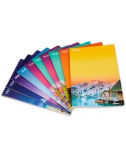 Комплект от 10 тетрадки Blasetti Color View - А4, 42 листа, широки редове