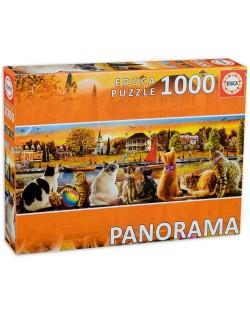 Панорамен пъзел Educa от 1000 части - Котки на кея