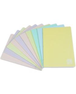Комплект от 10 тетрадки Blasetti One Color Pastello - A4, 42 листа, широки редове