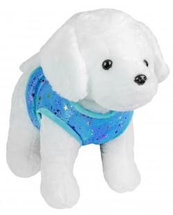 Плюшена играчка Morgenroth Plusch - Кученце със синьо елече, 28 cm