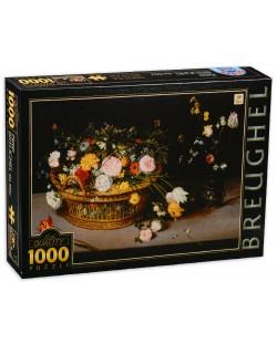 Пъзел D-Toys от 1000 части - Цветя в кошница и ваза, Питер Брьогел