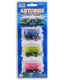 Комплект 3 автобуса - Розов, син, зелен