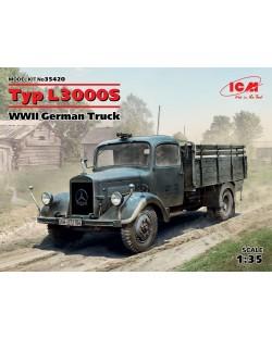 Военен сглобяем модел - Германски военен камион Мерцедес Тип Л3000С (Typ L3000S, WWII German Truck) (100% нови отливки)