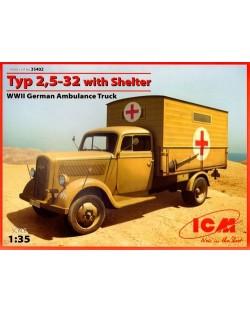 Военен сглобяем модел - Германски санитарно-спасителен камион Opel Typ 2,5-32