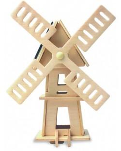 Дървен 3D пъзел Robo Time от 16 части – Соларна вятърна мелница 2