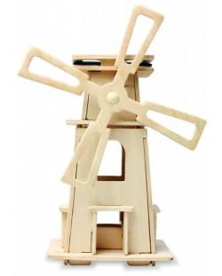 Дървен 3D пъзел Robo Time от 21 части – Соларна вятърна мелница 3