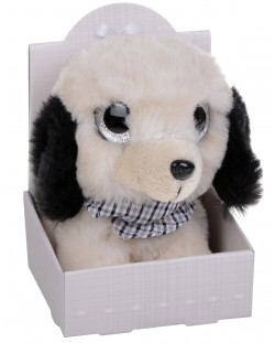 Плюшена играчка Morgenroth Plusch – Кученце с бляскави очи и в цвят слонова кост, 12 cm
