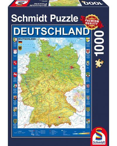 Пъзел Schmidt от 1000 части - Карта на Германия - 1
