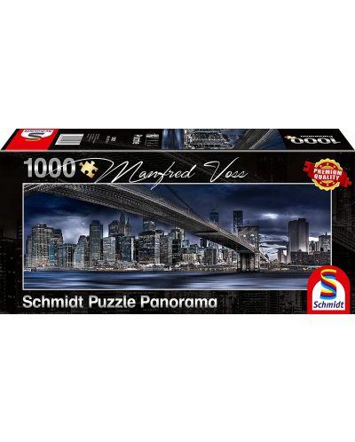 Панорамен пъзел Schmidt от 1000 части - Нощен Ню Йорк, Манфред Вос - 1