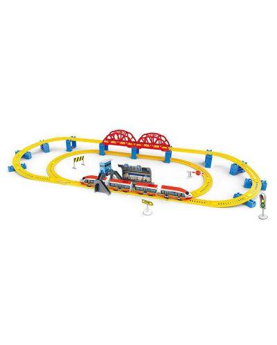 Игрален  комплект High Speed Train - Влак Стрела с мост, гара и надлез, 473 cm - 1