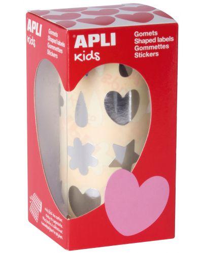 Стикери на ролка APLI - Сребристи сърца, цветя, капки, звезди - 1