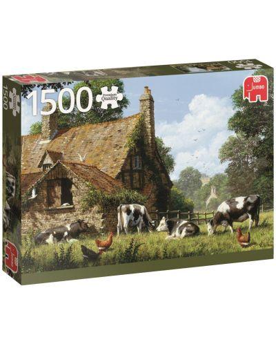 Пъзел Jumbo от 1500 части - Крави във фермата - 1