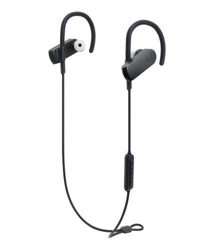 Слушалки с микрофон Audio-Technica - ATH-SPORT70BT, безжични, спортни, черни - 1