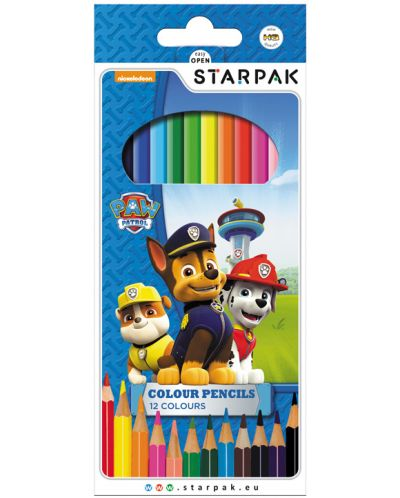 Комплект цветни моливи Starpak Paw Patrol - 12 цвята - 1