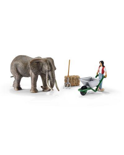 Фигурки Schleich от серията Аксесоари към Диви Животни: Комплект грижа за слонове - 1