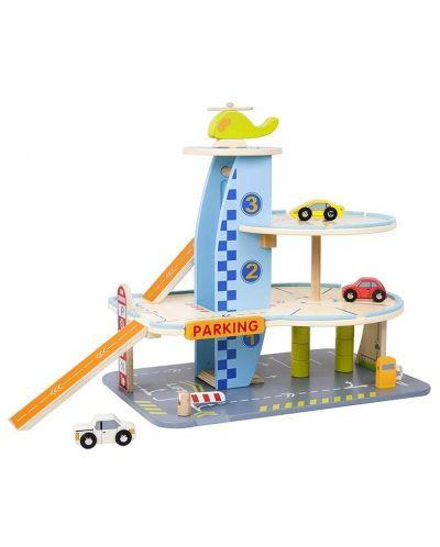 Дървена играчка Classic World - Гараж с колички на 3 нива - 1