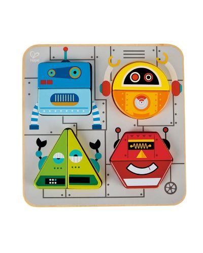 Дървена играчка Hape - Пъзел с роботи - 1