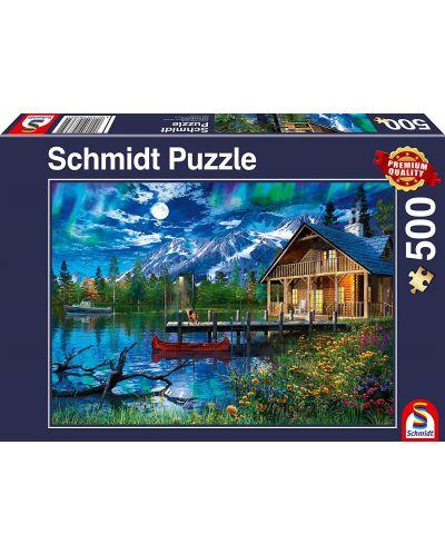 Пъзел Schmidt от 500 части - Планинското езеро на лунна светлина - 1