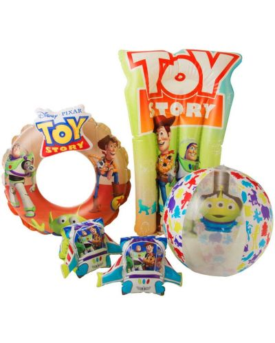 Детски надуваем комплект Disney Toy Story - Дюшек, пояс, раменки и топка - 1