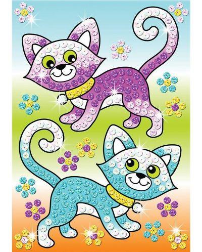 Творчески комплект KSG Crafts Sequin Art - Изкуство с пайети, Котки - 1