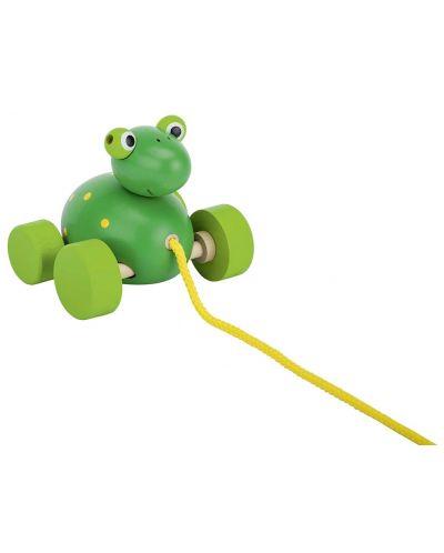 Дървена играчка за дърпане Goki - Жаба - 1