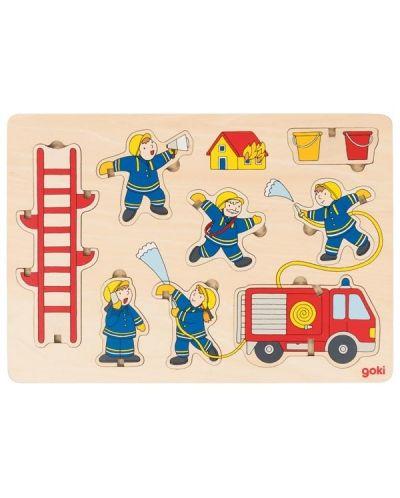 Дървен пъзел Goki - Пожарна команда, стоящ пъзел - 1
