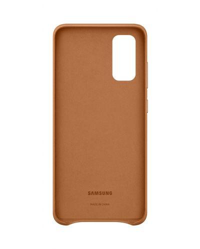 Кожен калъф Samsung - Leather, за Galaxy S20, кафяв - 3