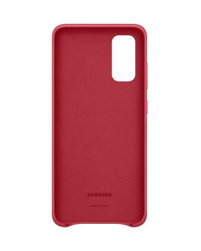 Кожен калъф Samsung - Leather, за Galaxy S20, червен - 3