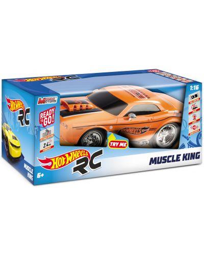 Радиоуправляема количка Mondo Motors Hot Wheels - Muscle King, със звук и светлина - 5