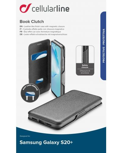Калъф Cellularline - Book Clutch, за Samsung Galaxy S20+, черен - 3