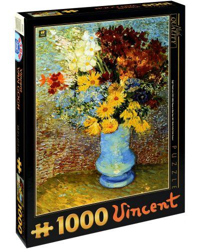 Пъзел D-Toys от 1000 части – Цветя в синя ваза, Винсент ван Гог - 1
