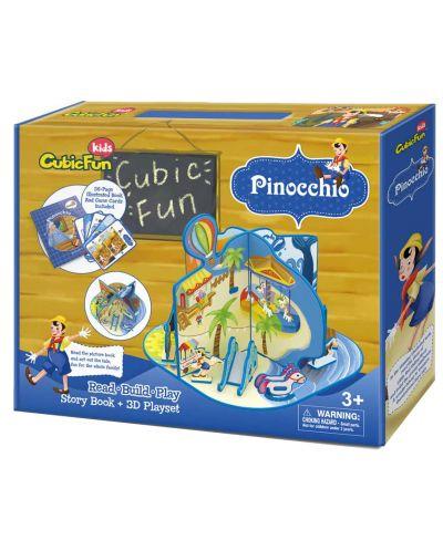 3D Пъзел Cubic Fun от 73 части - Пинокио, с приказка на български език - 2