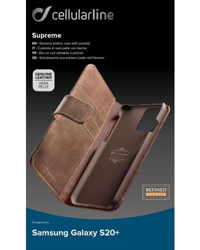 Кожен калъф Cellularline - Book Supreme, за Samsung Galaxy S20+, кафяв - 3