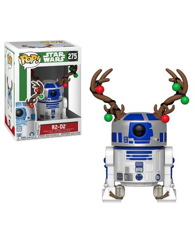 Фигура Funko Pop! Star Wars: Holiday R2-D2 with Antlers (Bobble-Head), #275 - 2