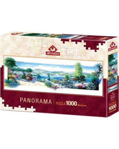 Панорамен пъзел Art Puzzle от 1000 части - Тераса с цветя - 1
