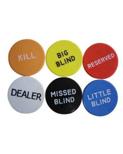 Протектор за карти - Big Button Set (Kill, Dealer, Big Blind, Small Blind, Missed Blind, Reserved) - 1